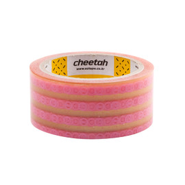 Cheetah fts Hand Cut Tape, Hand Tearable Packing Tape 1.77 inch x 43.74 yard Roll Pink