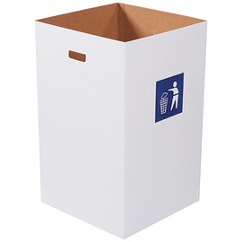 Corrugated Trash Cans with Waste Logo  40 Gallon (10 Per/Pack)