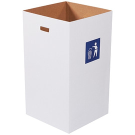 Corrugated Trash Cans with Waste Logo 50 Gallon (10 Per/Pack)