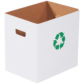 Corrugated Trash Cans with Waste Logo 7 Gallon (20 Per/Pack)