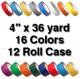 Vinyl Marking Tape 4 inch x 36 yard Roll (12 Roll/Pack)