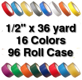 Vinyl Marking Tape 1/2 inch x 36 yard Roll (96 Roll/Pack)