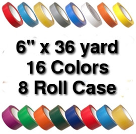 Vinyl Marking Tape 6 inch x 36 yard Roll (8 Roll/Pack)