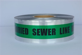 Detectable Underground Tape - Caution Buried Sewer Line Below - 2 inch x 1000 ft Roll (12 Roll/Pack) - Green
