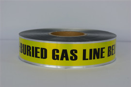 Detectable Underground Tape - Caution Buried Gas Line Below - 2 inch x 1000 ft Roll (12 Roll/Pack)