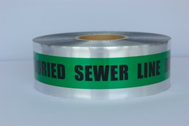 Detectable Underground Tape - Caution Buried Sewer Line Below - 3 inch x 1000 ft Roll (8 Roll/Pack)