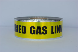Detectable Underground Tape - Caution Buried Gas Line Below - 3 inch x 1000 ft Roll (8 Roll/Pack)