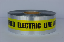Detectable Underground Tape - Caution Buried Electric Line Below - 3 inch x 1000 ft Roll (8 Roll/Pack) - Yellow