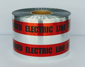 Detectable Underground Tape - Caution Buried Electric Line Below - 6 inch x 1000 ft Roll (4 Roll/Pack) - Red