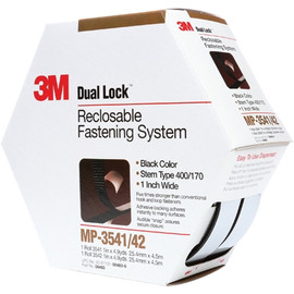 3M MP3541/42 Dual Lock Mini Pack Fasteners Black 1 inch x 15 ft (5 Roll/Pack)