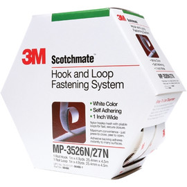 3M MP3526N/MP3527N Scotchmate White Combo Pack Fasteners 1 inch x 15 ft (5 Roll/Pack)