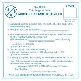 inchCaution Moisture Sensitive Devices inch Labels 4 inch x 4 inch (500 Per/Roll)