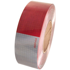 DOT C2 Oralite Retroreflective Tape 2 inch x 50 yard Roll (10 Year) 11 inch Red 7 inch White