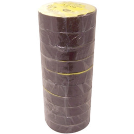 Brown Electrical Tape 3/4 inch x 66 ft Roll 7 mil (10 Pack)