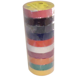 Rainbow Pack Electrical Tape 3/4 inch x 66 ft Roll 7 mil (10 Color/Pack)