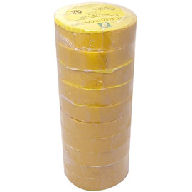Yellow Electrical Tape 3/4 inch x 66 ft Roll (10 Pack)