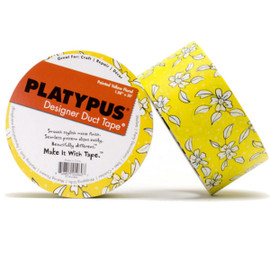 Clearance Yellow Floral Platypus Designer Duct Tape 1.88 inch x 30 ft