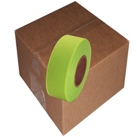 Fluorescent Lime Flagging Tape 1 3/16 inch x 150 ft Roll Non-Adhesive (12 Roll/Pack)