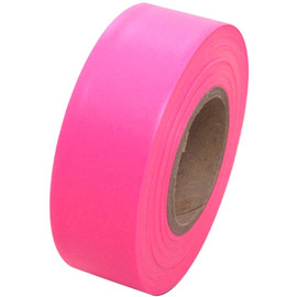 Fluorescent Pink Flagging Tape 1 3/16 inch x 150 ft Roll Non-Adhesive