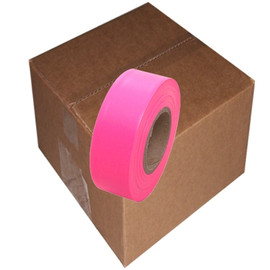Fluorescent Pink Flagging Tape 1 3/16 inch x 150 ft Roll Non-Adhesive (12 Roll/Pack)