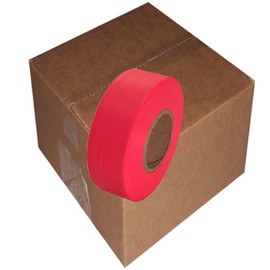 Fluorescent Red Flagging Tape 1 3/16 inch x 150 ft Roll Non-Adhesive (12 Roll/Pack)