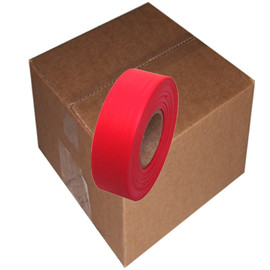 Red Flagging Tape 1 3/16 inch x 300 ft Roll Non-Adhesive (12 Roll/Pack)