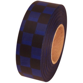 Black and Blue Checkerboard Flagging Tape 1 3/16 inch x 300 ft Roll Non-Adhesive