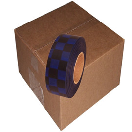 Black and Blue Checkerboard Flagging Tape 1 3/16 inch x 300 ft Roll Non-Adhesive (12 Roll/Pack)