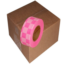 Fluorescent Pink and White Checkerboard Flagging Tape 1 3/16 inch x 100 ft Roll Non-Adhesive (12 Roll/Pack)
