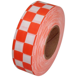 Orange and White Checkerboard Flagging Tape 1 3/16 inch x 300 ft Roll Non-Adhesive