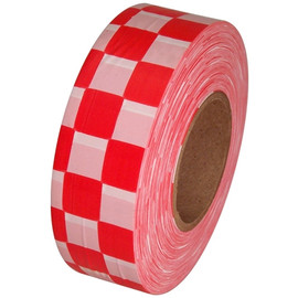 White and Red Checkerboard Flagging Tape 1 3/16 inch x 300 ft Roll Non-Adhesive