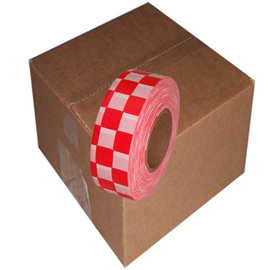 White and Red Checkerboard Flagging Tape 1 3/16 inch x 300 ft Roll Non-Adhesive (12 Roll/Pack)