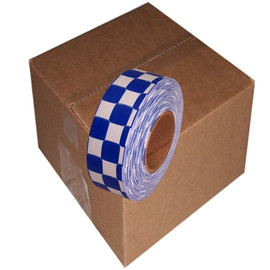 White and Blue Checkerboard Flagging Tape 1 3/16 inch x 300 ft Roll Non-Adhesive (12 Roll/Pack)