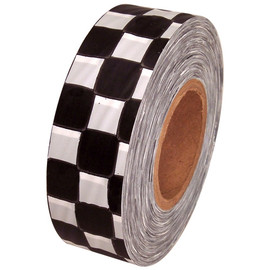 White and Black Checkerboard Flagging Tape 1 3/16 inch x 300 ft Roll Non-Adhesive