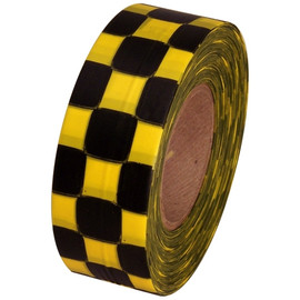 Yellow and Black Checkerboard Flagging Tape 1 3/16 inch x 300 ft Roll Non-Adhesive