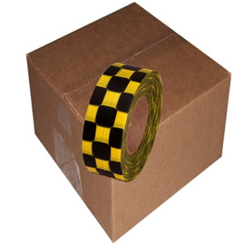 Yellow and Black Checkerboard Flagging Tape 1 3/16 inch x 300 ft Roll Non-Adhesive (12 Roll/Pack)