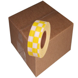 Yellow and White Checkerboard Flagging Tape 1 3/16 inch x 300 ft Roll Non-Adhesive (12 Roll/Pack)