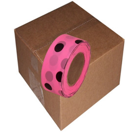 Fluorescent Pink and Black Polka Dot Flagging Tape 1 3/16 inch x 100 ft Roll Non-Adhesive (12 Roll/Pack)