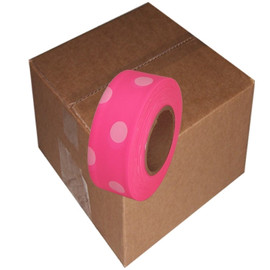 Fluorescent Pink and White Polka Dot Flagging Tape 1 3/16 inch x 100 ft Roll Non-Adhesive (12 Roll/Pack)