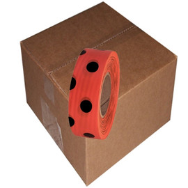 Orange and Black Polka Dot Flagging Tape 1 3/16 inch x 300 ft Roll Non-Adhesive (12 Roll/Pack)