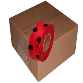 Red and Black Polka Dot Flagging Tape 1 3/16 inch x 300 ft Roll Non-Adhesive (12 Roll/Pack)
