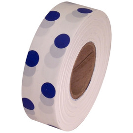 White and Blue Polka Dot Flagging Tape 1 3/16 inch x 300 ft Roll Non-Adhesive