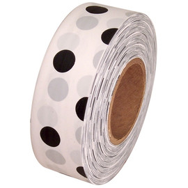 White and Black Polka Dot Flagging Tape 1 3/16 inch x 300 ft Roll Non-Adhesive