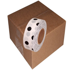 White and Black Polka Dot Flagging Tape 1 3/16 inch x 300 ft Roll Non-Adhesive (12 Roll/Pack)