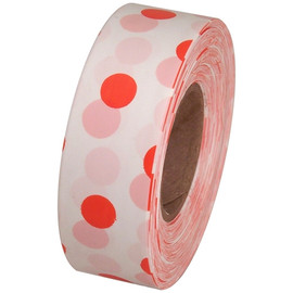 White and Orange Polka Dot Flagging Tape 1 3/16 inch x 300 ft Roll Non-Adhesive