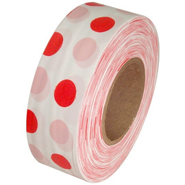 White and Red Polka Dot Flagging Tape 1 3/16 inch x 300 ft Roll Non-Adhesive