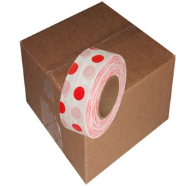 White and Red Polka Dot Flagging Tape 1 3/16 inch x 300 ft Roll Non-Adhesive (12 Roll/Pack)