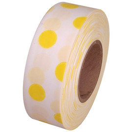 White and Yellow Polka Dot Flagging Tape 1 3/16 inch x 300 ft Roll Non-Adhesive