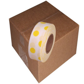 White and Yellow Polka Dot Flagging Tape 1 3/16 inch x 300 ft Roll Non-Adhesive (12 Roll/Pack)