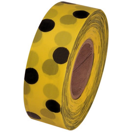 Yellow and Black Polka Dot Flagging Tape 1 3/16 inch x 300 ft Roll Non-Adhesive